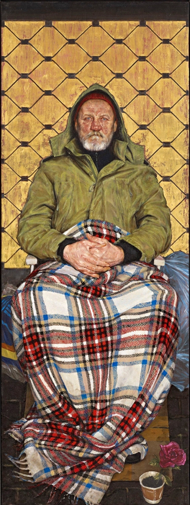 Man with a Plaid Blanket' by Thomas Ganter, shortlisted for the BP Portrait Award 2014