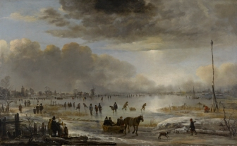 N110201SP1.14 Aert van der Neer Frozen River Landscape by Moonlight Oil on canvas 101.00 x 142.00 x 11.00 cm
