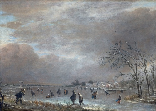Aert_van_der_Neer_-_Winter_Landscape_with_Skaters_on_a_Frozen_River_-_Google_Art_Project