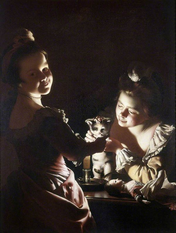 600px-Joseph_Wright_of_Derby._Two_Girls_Dressing_a_Kitten_by_Candlelight._c._1768-70